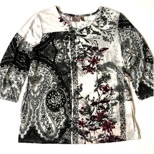 *3/$30* Easywear by Chico's Floral Sweater
